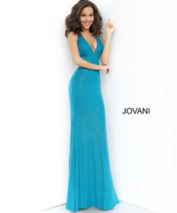 Style 67866 Jovani Green Size 00 Plunge Teal Cut Out Straight Dress on Queenly