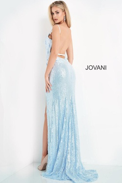 Style 1012 Jovani Blue Size 00 Tall Height Lace Side slit Dress on Queenly