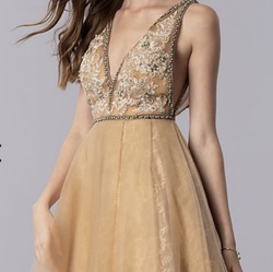 Queenly size 10 Terani Couture Gold Cocktail evening gown/formal dress