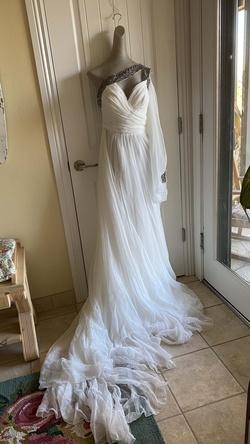 Tarik Ediz White Size 6 Side Slit Train Dress on Queenly