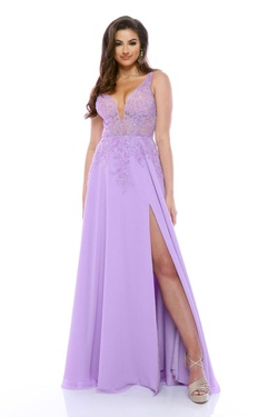 Queenly size 10 Zoey Grey Purple A-line evening gown/formal dress