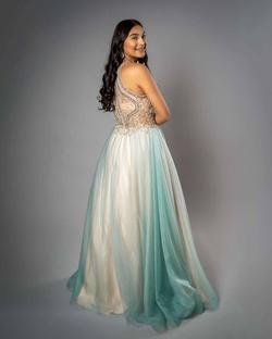 Windsor Multicolor Size 4 Light Blue Halter Sequin A-line Dress on Queenly