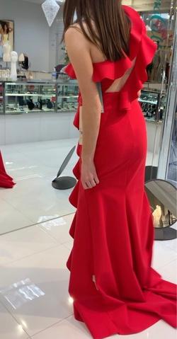 Tarik Ediz Red Size 6 Ruffles Straight Dress on Queenly