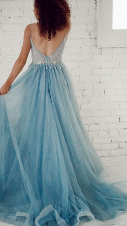 Style NOB42BLUE MCNZ Blue Size 4 Spaghetti Strap Custom Ball gown on Queenly