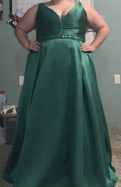 Tease prom Green Size 22 Sheer Tall Height Ball gown on Queenly