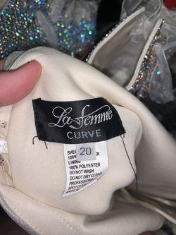 La Femme Silver Size 20 Side slit Dress on Queenly
