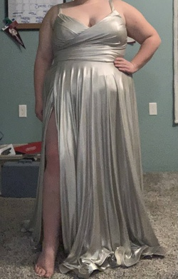 Queenly size 20 La Femme Silver Side slit evening gown/formal dress