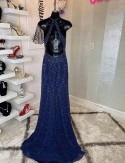 Jovani Blue Size 4 Custom Straight Dress on Queenly