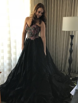 Sherri Hill Black Size 4 Pageant Sweetheart Ball gown on Queenly