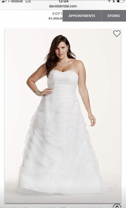 David's Bridal White Size 20 Plus Size A-line Dress on Queenly