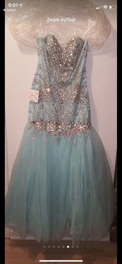 Alyce Paris Blue Size 4 Pageant Jewelled Mermaid Dress on Queenly
