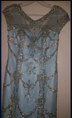 Queenly size 2 Sherri Hill Blue Mermaid evening gown/formal dress