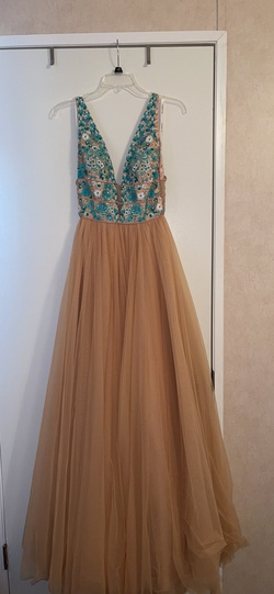 Style 52672 Sherri Hill Nude Size 0 Blue Backless Ball gown on Queenly