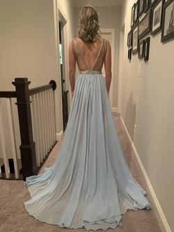 MacDuggal Blue Size 2 Fun Fashion Mini Side slit Dress on Queenly