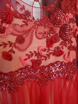 Custom Red Size 00 Girls Size Corset Ball gown on Queenly