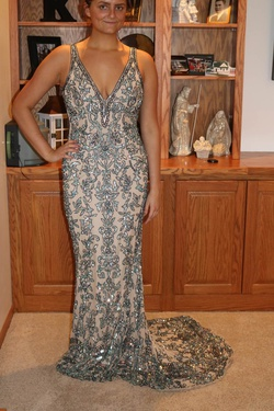 Style 53006 Sherri Hill Nude Size 8 Backless Train A-line Dress on Queenly