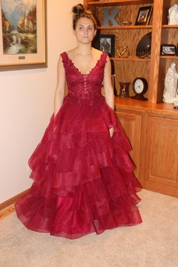 Ellie Wilde Red Size 8 Ruffles Backless Ball gown on Queenly