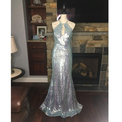 Jovani Silver Size 8 Halter Train Mermaid Dress on Queenly