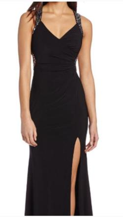 Hailey Logan by Adrianna Papell Black Size 8 Sequin Side slit Dress on Queenly