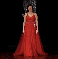 Queenly size 12  Red A-line evening gown/formal dress
