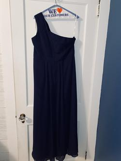 Style nan David's Bridal Blue Size 18 Plus Size Prom Straight Dress on Queenly