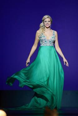 Jovani Green Size 6 Prom Plunge Pageant A-line Dress on Queenly