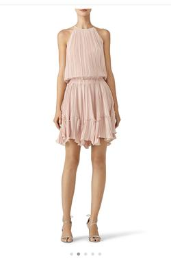 Halston Nude Size 2 Wedding Guest Halter Light Pink Cocktail Dress on Queenly