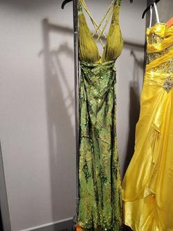Style 8657 Precious Formals Green Size 6 Tall Height Olive Straight Dress on Queenly