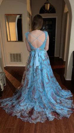 Sherri Hill Blue Size 8 Tall Height Train Dress on Queenly