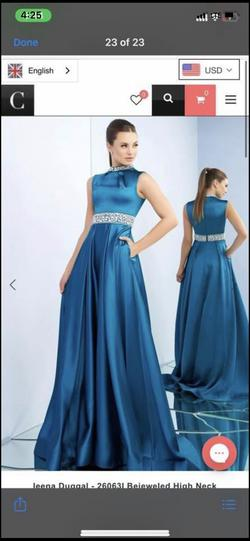 Queenly size 14 Mac Duggal Blue Straight evening gown/formal dress
