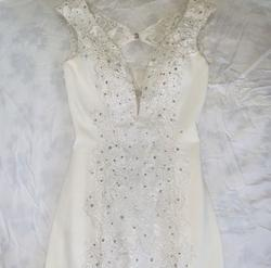 Queenly size 4 Panoply White Straight evening gown/formal dress