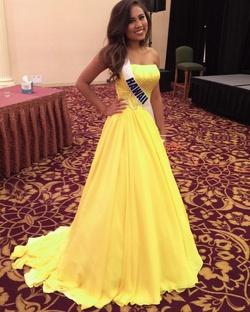 Queenly size 4 Gaspar Cruz Yellow Ball gown evening gown/formal dress