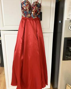 Queenly size 2  Red A-line evening gown/formal dress