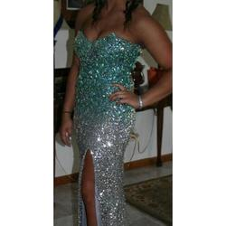 Queenly size 8 La Femme Blue Side slit evening gown/formal dress