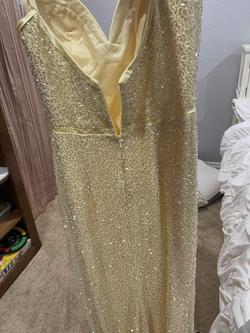 Style 53493 Sherri Hill Yellow Size 2 Fully-beaded Side slit Dress on Queenly