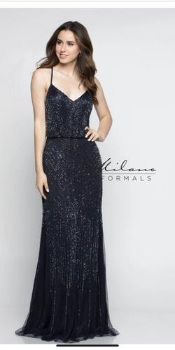Queenly size 8 Milano Formals Blue Straight evening gown/formal dress
