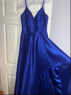 Style 60094 Alyce Paris Blue Size 4 Belt Side slit Dress on Queenly