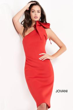 Jovani Red Size 4 One Shoulder Interview Cocktail Dress on Queenly