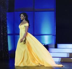 Queenly size 6 Custom Fernando Wong Yellow Train evening gown/formal dress