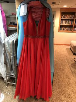 Sherri Hill Red Size 20 Halter Plunge Straight Dress on Queenly