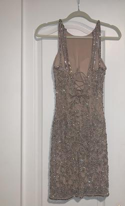 Style 51501 Sherri Hill Nude Size 2 Sorority Formal Fitted Cocktail Dress on Queenly