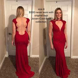 Queenly size 4 Jovani Red Straight evening gown/formal dress