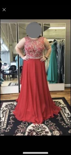 Mac Duggal Red Size 16 Side Slit Pageant Train Dress on Queenly