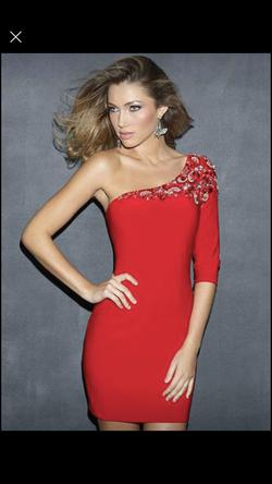 Night Moves Red Size 4 Mini Long Sleeve Sleeves Cocktail Dress on Queenly