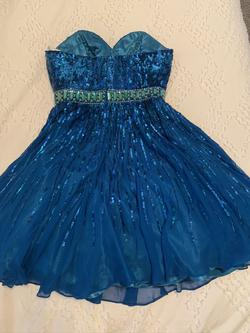 Sherri Hill Blue Size 0 Sweetheart Strapless Cocktail Dress on Queenly