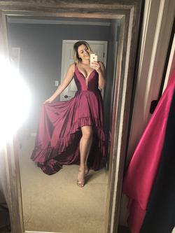 Sherri Hill Purple Size 6 Prom Train Plunge Side Slit Dress on Queenly