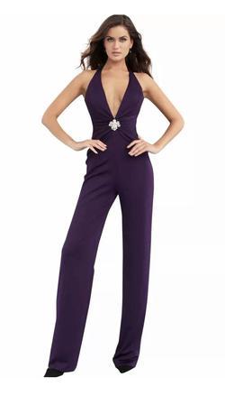 Jovani Purple Size 4 Halter Tall Height Jumpsuit Dress on Queenly