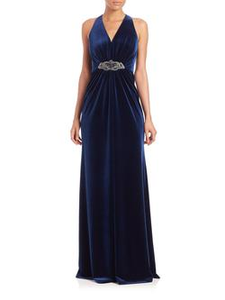 Queenly size 8 David Meister Blue A-line evening gown/formal dress