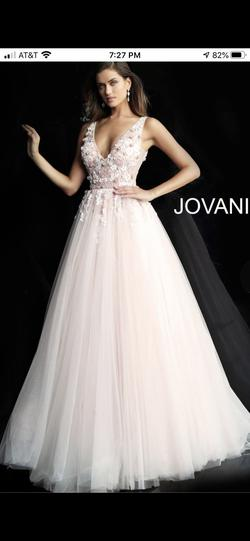 Style 61109 Jovani Pink Size 2 Floral Plunge Ball gown on Queenly