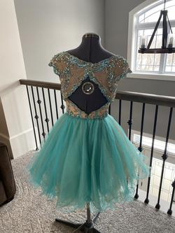 Sherri Hill Green Size 2 Teal Sequin Cocktail Dress on Queenly